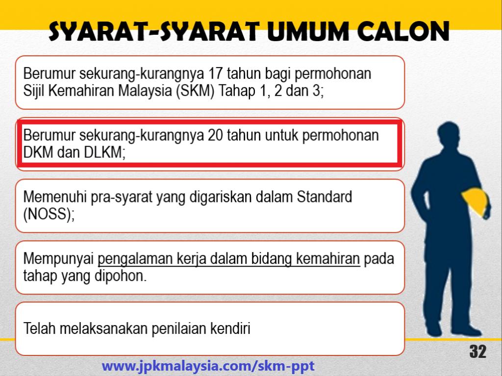 Diploma Kemahiran Malaysia - Syarat Umum Permohonan Secara PPT